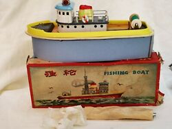 Wm 173 Fishing Boat China Battery Tin Toy Blechspielzeug Boxed Rare
