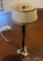 Vintage Doll House Miniature Electric Floor Lamp Stick Shade Candle Light Decor