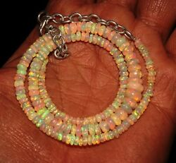Natural Ethiopian Fire Opal Bead Necklace 3to7 Mm 16+1.5adjustable Chain Gift
