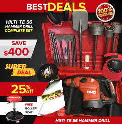 Hilti Te 56 Hammer Drill Preowned Free Roller Seat Bits Extras Fast Ship