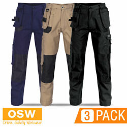 3 X Mens Duratex Cotton Duck Weave 14-multi Twin Holster Pocket Work Pants
