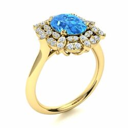 2.60 Cttw Genuine Blue Topaz And Diamond Vintage Engagement Ring 14k Yellow Gold