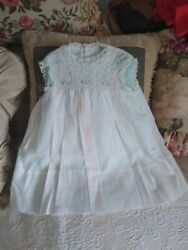 VINTAGE 1950s Flocked Baby Girl Lace Party Dress Mint Green Lord Taylor $29.99