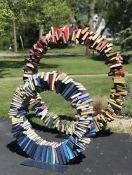 Self Standing Book Ring Library Art Sculpture With Steel Base 48