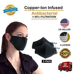 Copper Ion Infused Face Mask With 4 Layers Of Filtration - 2 Pack