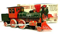 Vintage Battery Operated Mystery Action Western Express Locomotive Tin Train