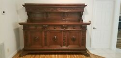 Italian Carved Walnut Cabinet Server Large With Lion Feet Antique Furniture