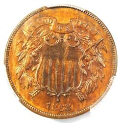 1868 Two Cent Piece 2c - Pcgs Uncirculated Detail Ms Unc - Rare Certified Coin