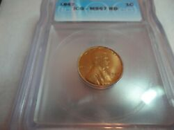 1947 Ms67 Icg Rd Lincoln Cent Lists 1850