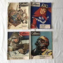 Vintage Colliers Magazines 1942 Wwii Hitler War Ads Ralston Coca Cola - Lot Of 4