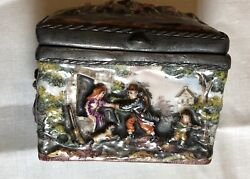 Antique 1800's Capodimonte Porcelain Inkwell W/lead Framed Inserts H/painted