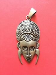 Authentic Ethiopian Jewelry Silver Pendant Of African Mask Handmade Rare