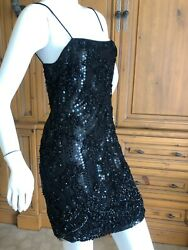 James Galanos Vintage Sequin And Hand Beaded Lace Little Black Mini Dress