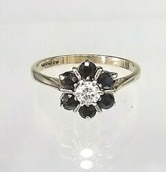 Vintage 9ct Gold Sapphire And Cz Cluster Ring Real Gold Not Filled/plated Sz M