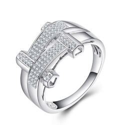 Solid 18k White Gold Menandrsquos Band Ring Precious Antique Jewelry Si/h Diamond 0.4ct