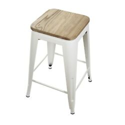 24'' White Backless Counter Height Stools Kitchen Pub Metal Bar Stool, Wood Seat