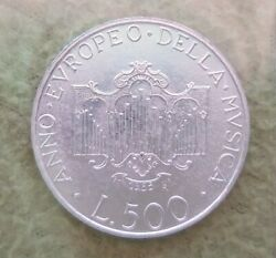 Italy 1985 Dedicated To Music 500 Lire Silver Coin With Original Bank Box