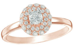 1/2 Ct White Natural Diamond Double Frame Engagement Ring 10k Two-tone Rose Gold