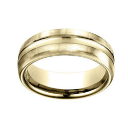 14k Yellow Gold 7.5mm Comfort Fit High Polish Center Cut Carved Band Ring Sz 6