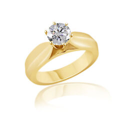 0.30 Ct Simulated Ideal Round Cathedral Ring 18k Yellow Gold