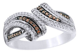 1/4 Ct Champagne And White Natural Diamond Split Bypass Ring 10k White Gold