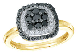 1/2 Ct Black And White Natural Diamond Cluster Frame Ring 10k Yellow Gold