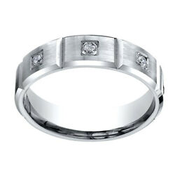0.32 Ct Natural Diamond 6mm Comfort Fit 14k White Gold Eternity Band Ring Sz-8