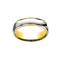 14k Two-toned 6mm Comfort-fit Polished Carved White Menand039s Band Ring Size 13