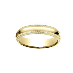 18k Yellow Gold 5mm Slightly Dome Comfort Fit Band Ring Sz 5 W/ Double Milgrain