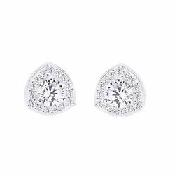 925 Sterling Silver 0.28 Ct Simulated Round Cut Triangular Stud Earrings