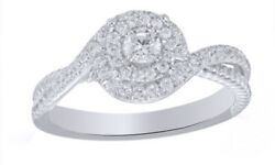 1/3 Ct Round Cut Real Diamond 10k White Gold Double Swirl Frame Engagement Ring