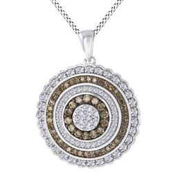 1.20 Ct Champagne And White Natural Diamond 10k White Gold Circle Pendant Necklace