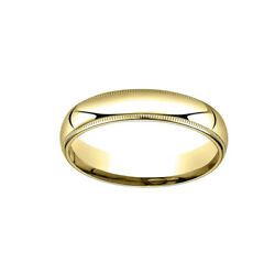 5mm Slightly Dome Comfort Fit 18k Yellow Gold Band Ring Sz 5 W/ Milgrain