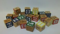 Lot Vintage Wooden Christmas Toy Alphabet Numbers Animals Building Blocks