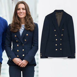 ZARA Double Breasted Navy Blue Blazer Jacket Gold Buttons Princess Kate SMALL S $129.00