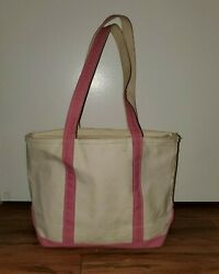 Vintage LL Bean Boat and Tote Bag Canvas Pink Zippered Long Straps 16x12 $44.99
