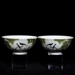 4.8and039and039 China Antique Bowl Five-colored Porcelain Bowl Bird Old Pottery Bowl Xzs