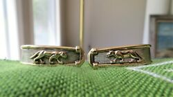 10k Yellow Gold J-shape Drop Earrings With Jungle Cats In Relief- Marked 10k