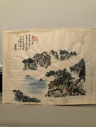 Signed Chinese Landscape And Poem Painting Circa 1900 Dimensions 40x30cm