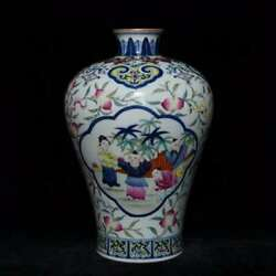 10and039and039 China Antique Vase Five-colored Porcelain Vase Old Pottery Vase Xzs