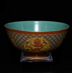6.5and039and039 China Antique Bowl Enamel Porcelain Bowl Old Pottery Dragon Bowl Xzs