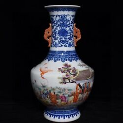 14.6and039and039 China Antique Vase Five-colored Porcelain Vase Old Pottery Vase Xzs