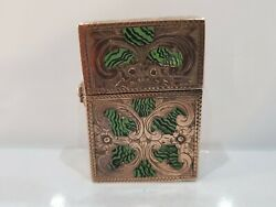 Italy Hand Made Enamel And Gold Tone Floral Design Lighter And Zippo Insert 1719.37
