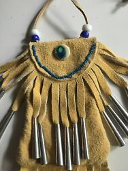 Native-Themed new Suede Leather Deer Hand Made bag sex peacock bead gift  $19.99