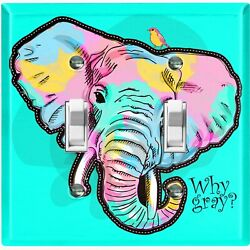 Metal Light Switch Cover Wall Plate Colorful Elephant Pastel Teal