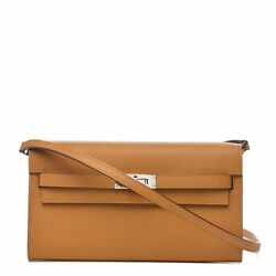 HERMES Women's AUTHENTIC NEW Brown Leather Kelly Wallet