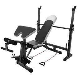 Weight Bench Adjustable Weightlifting Strength Training Incline Legs Home Gym