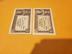 2 Poland Issue Note And Remainder Rare Set P76a And 76r