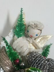 Vintage Christmas Corsage Spun Cotton Angel Pine Cones Bottle Brush Trees Holly