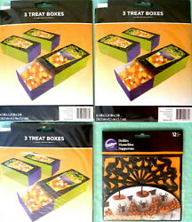 Lot Of 12 Halloween Spider And Web Treat Boxes And 12 Spiderweb Doilies Nip